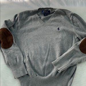 Boys Ralph Lauren gray V-neck sweater size